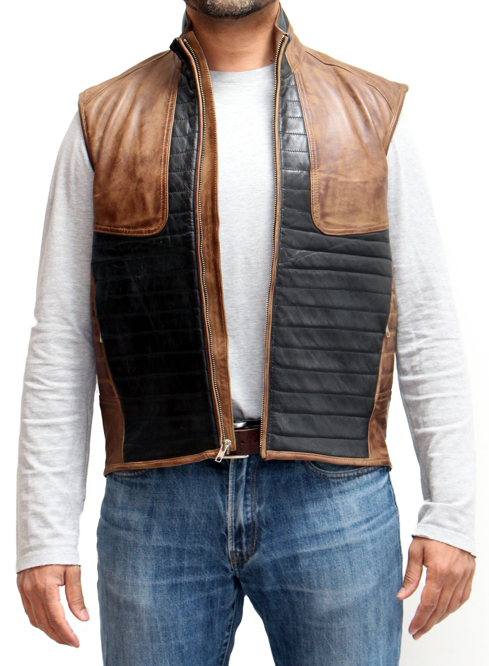 Mens Real Leather Black and Brown Ribbed Stitching Waistcoat