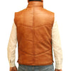 Mens padded real leather gilet/waistcoat with zip and stud button fastening.