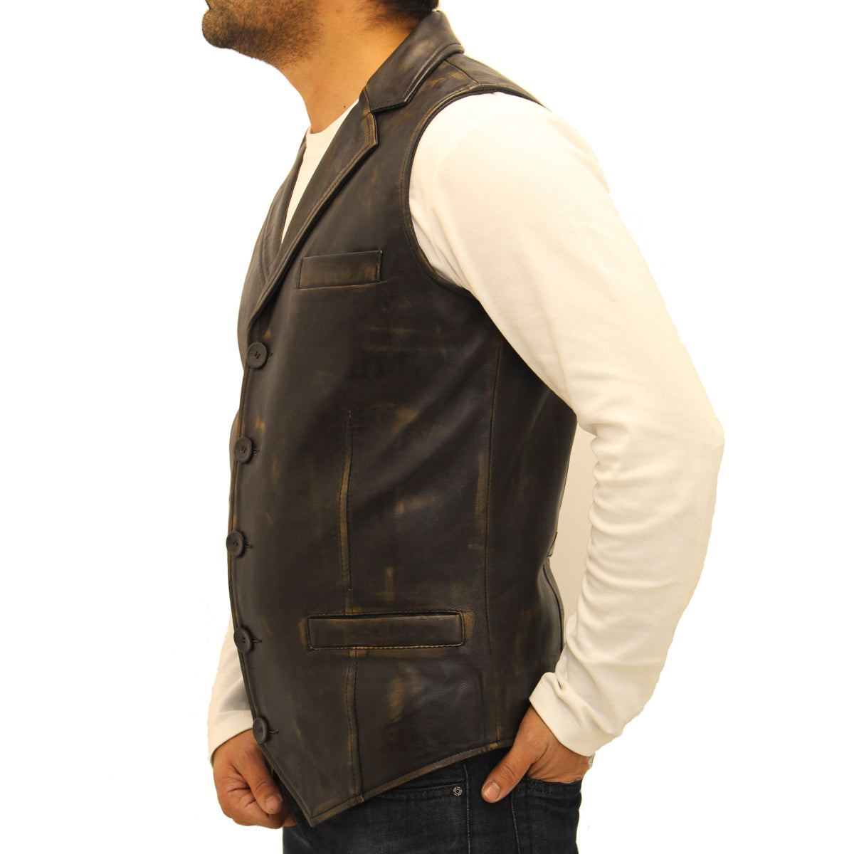 A smart shirt collar five button fitted waistcoat / gilet. Available in Leather or Suede