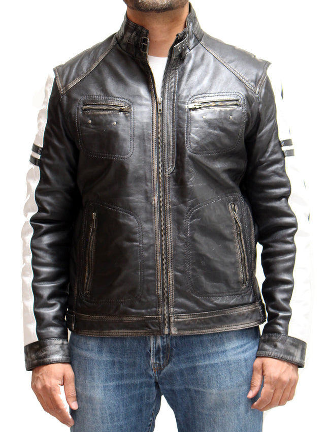 Mens Real Leather Vintage Distressed Black Biker Jacket with White Racing Stripe Down Each Sleeve.
