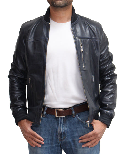 Mens 70s style baseball varsity letterman bomber jacket with zip chest pocket. Available in Black, Brown & Navy