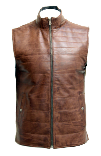 Mens Real Sheep Leather Black and Brown Smart Reversible Waistcoat