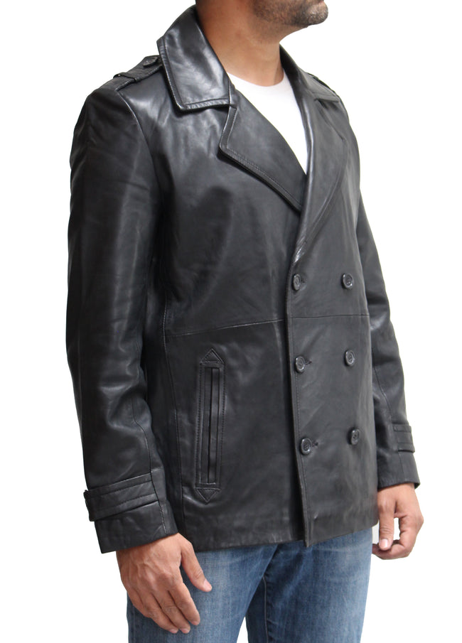 Mens Real Leather Double Breasted Smart Peacoat. Available in Black and Brown