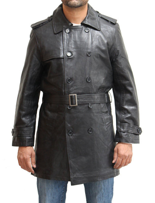 Mens double breasted maxi real leather black leather coat with belt