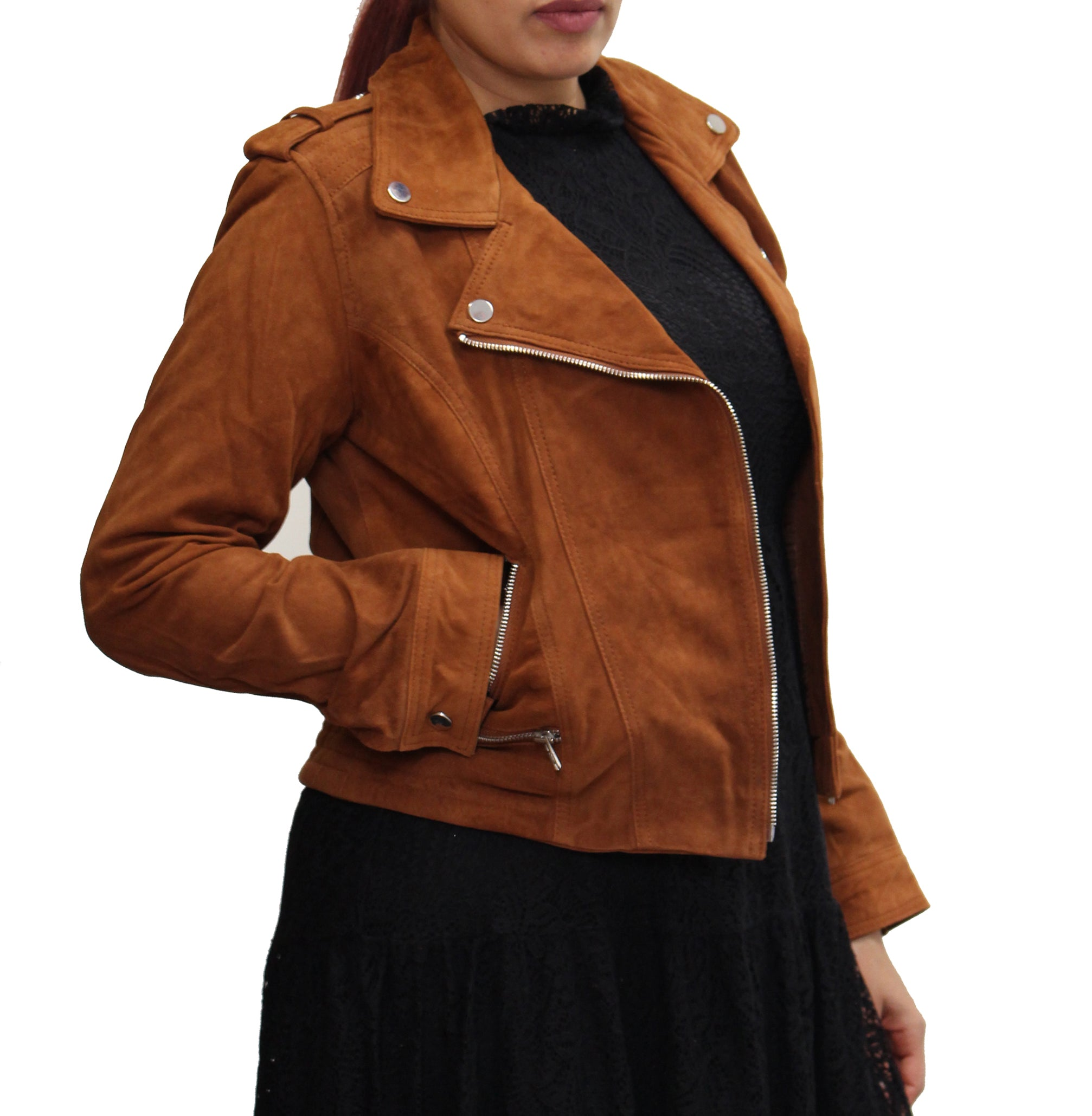 Womens Suede Lightweight Real Leather Brando Style Cross Zip Biker Jacket. Available in Black, Brown and Tan