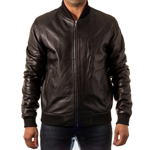 Mens 70s style baseball leather varsity letterman bomber jacket