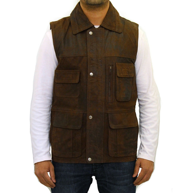Men's brown leather gilet/waistcoat with multiple pockets