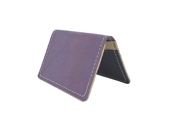 Vintage Purple Unisex Handmade Oyster Travel Card Holder Wallet ID in Leather, Cowhide, Nubuck and Suede
