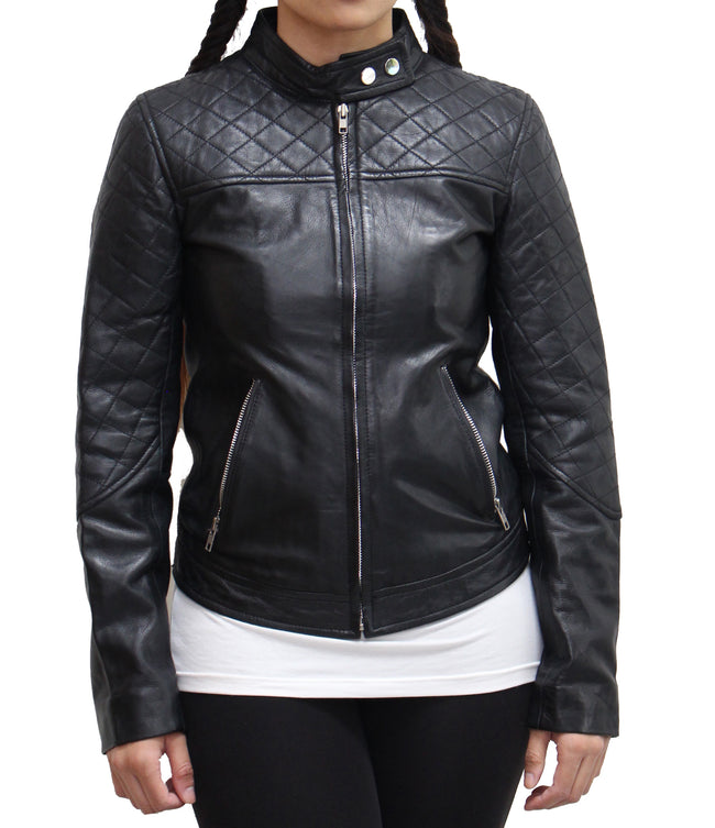 Womens Real Leather Quilted Biker Double Popper Button tab Collar Biker Jacket Available in Black and Red
