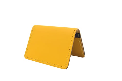 Yellow Unisex Handmade Oyster Travel Card Holder Wallet ID in Leather, Cowhide, Nubuck and Suede
