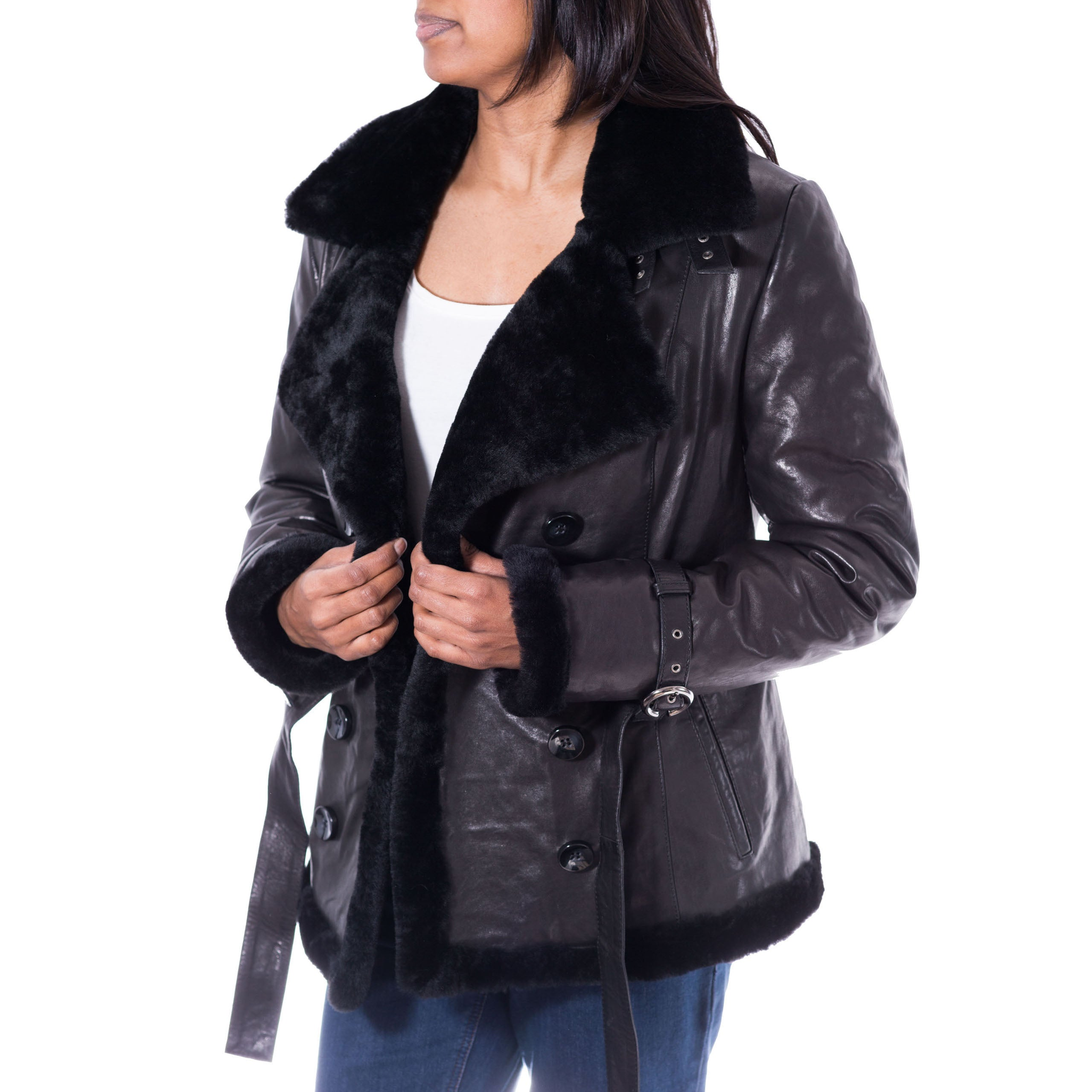 bea4f9594e3 Womens shearling sheepskin double breasted pea coat with belt tie ...