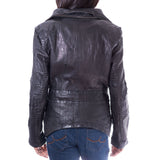 Womens Plain and Croc Patterned Slim Fit Biker Jacket with Removable Collar