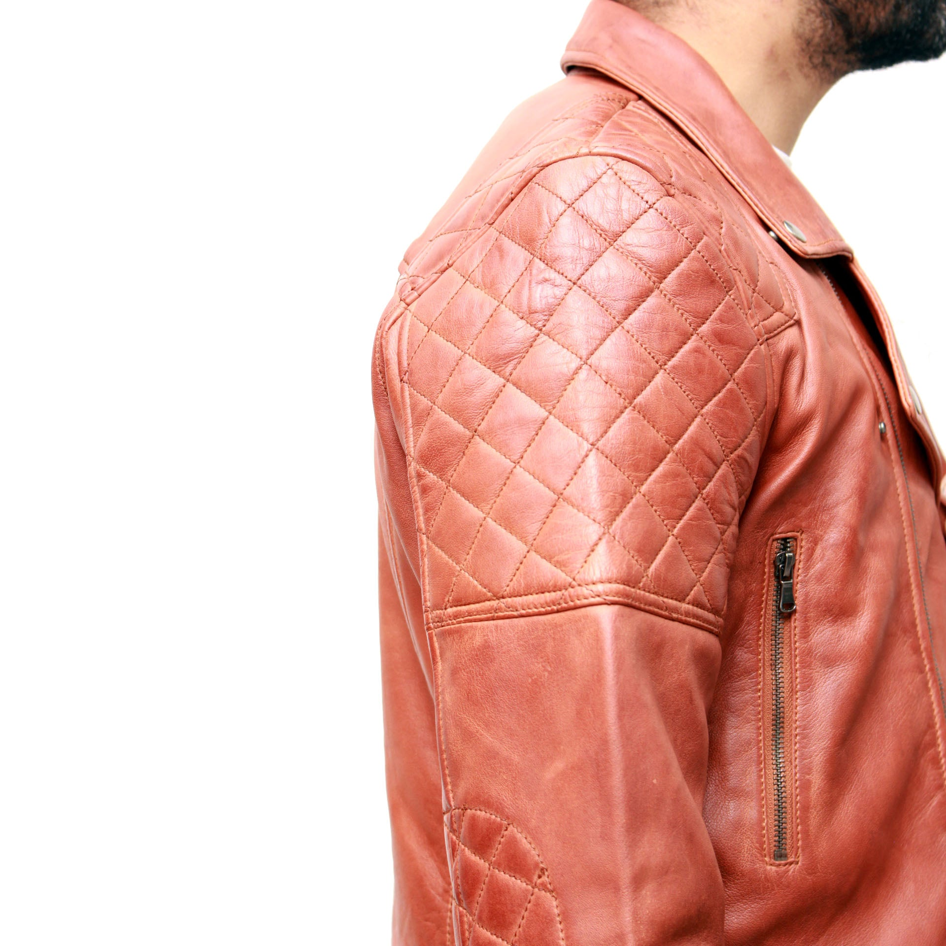 Mens Brando style quilted biker jacket Available in Tan or Dark Brown