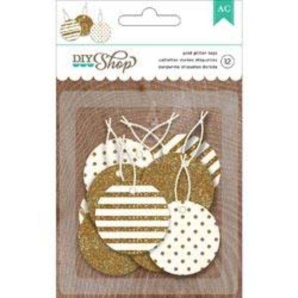 Gold Glitter Tags DIY Shop