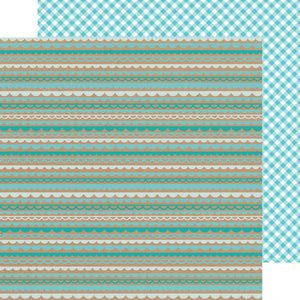 Papel  Swimming Pool Scallop-Gigham Kraft in Color.