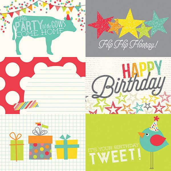 Papel  4 x 6 Horizontal Journaling Card Elements Let´sParty