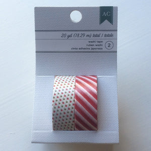 Washi Tape Green-Red Dots & Red Stripes