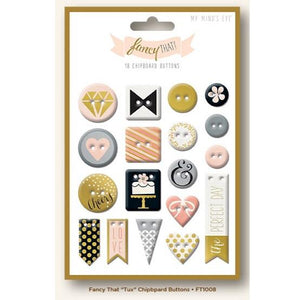 Chipboard Tux Gold Foil Buttons  Fancy That
