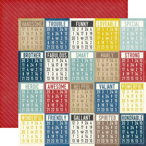 Papel  Boy Bingo Cards Pinstripes