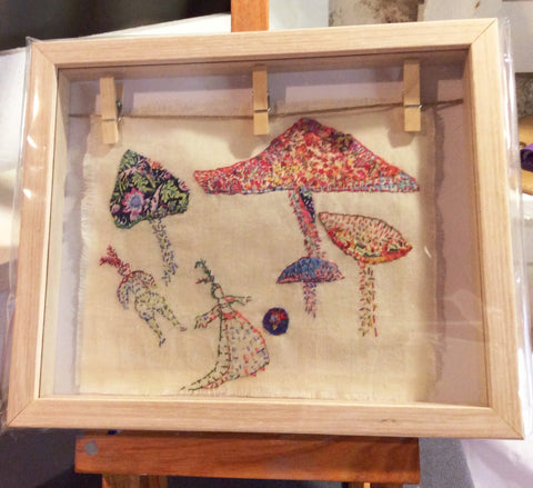 Hand embroidered wall art in box frame by Ana-Luisa de Cavilla Scrutton