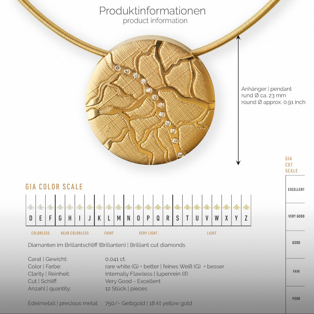 COLIMA | Produktinformationen - Collier, Kettenanhänger, kette - 750/- Gelbgold - Diamanten/Brillanten | product-information - pendant, necklace - 18 kt yellow gold - diamonds | SYNO-Schmuck.com