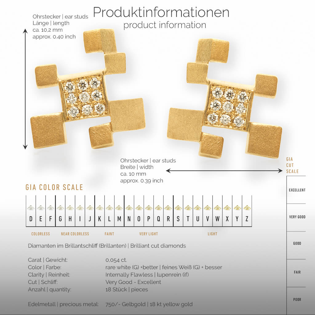 QUADROCI | Produktinformationen- Ohrringe, Ohrstecker - 750/- Gelbgold - Diamanten/Brillanten | product-information - ear studs, earrings - 18 kt yellow gold - diamonds | SYNO-Schmuck.com