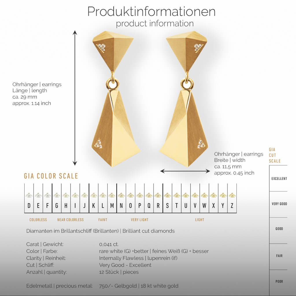 STEALTH | Produktinformationen - Ohrhänger, Ohrringe - 750/- Gelbgold - 12 Diamanten/Brillanten | product-information - earrings - 18 kt yellow gold - 12 diamonds | SYNO-Schmuck.com