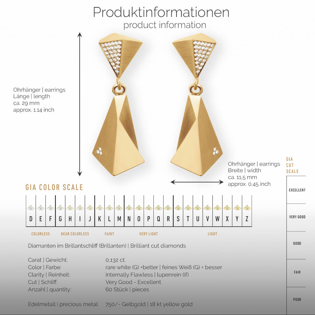 STEALTH | Produktinformationen - Ohrhänger, Ohrringe - 750/- Gelbgold - 60 Diamanten/Brillanten | product-information - earrings - 18 kt yellow gold - 60 diamonds | SYNO-Schmuck.com