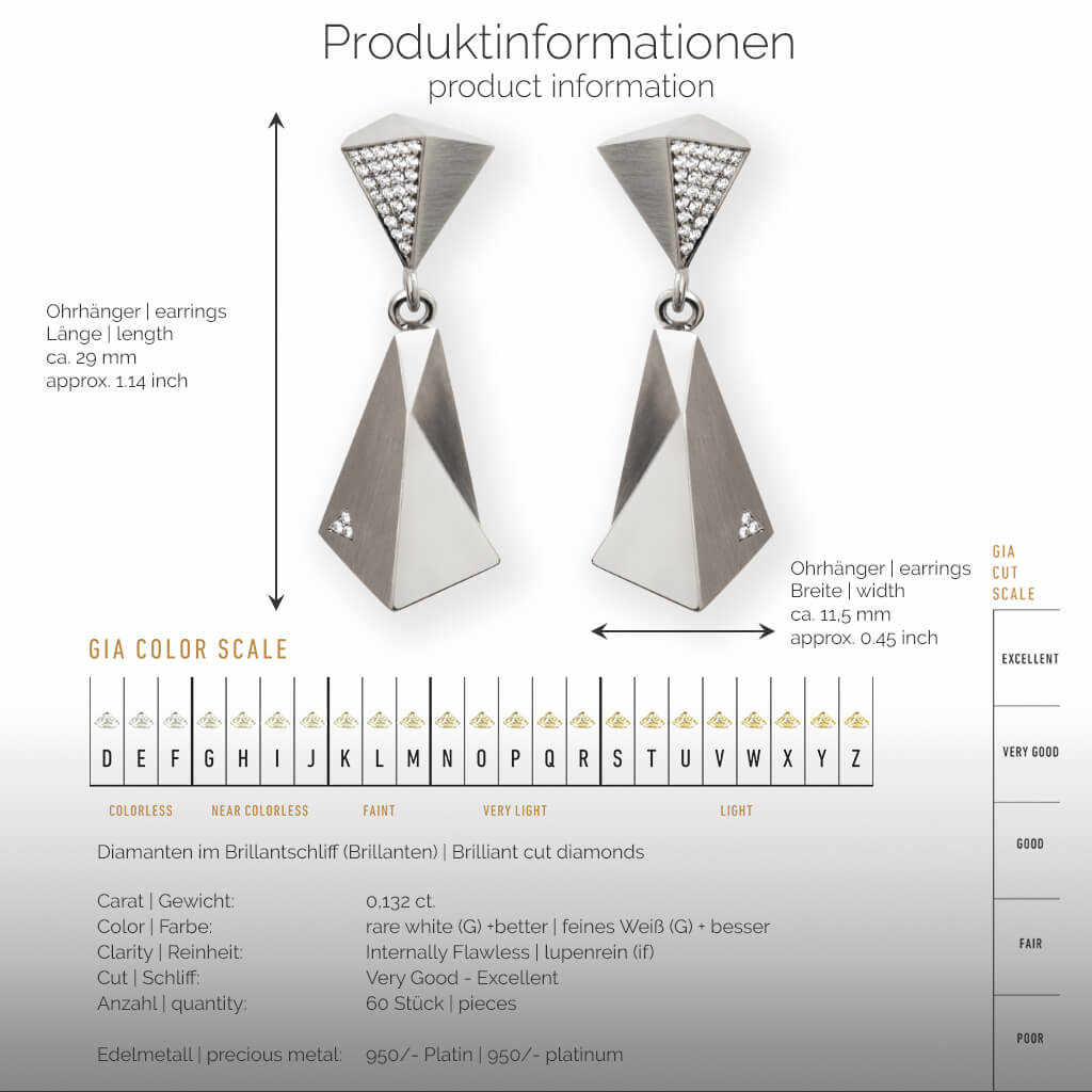 STEALTH | Produktinformationen - Ohrhänger, Ohrringe - 950/- Platin - 60 Diamanten/Brillanten | product-information - earrings - 950/- platinum - 60 diamonds | SYNO-Schmuck.com