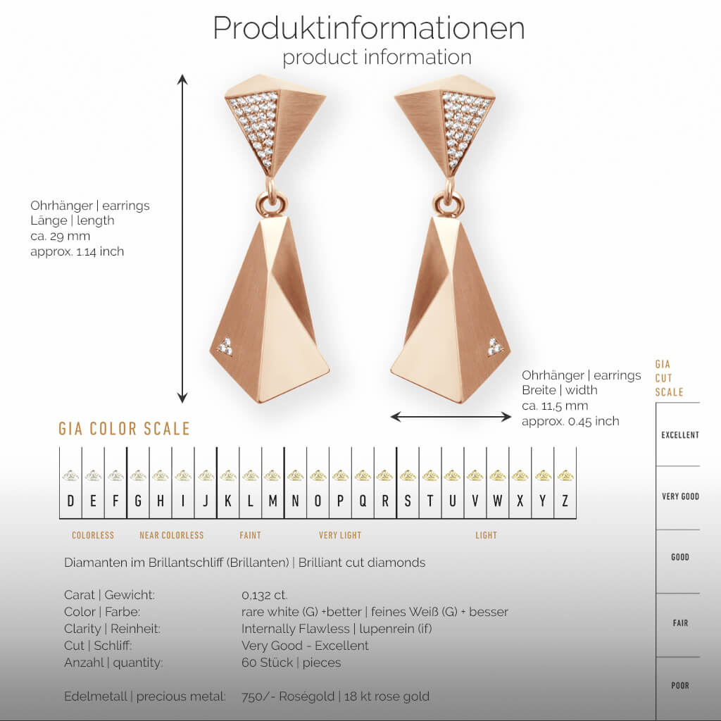 STEALTH | Produktinformationen - Ohrhänger, Ohrringe - 750/- Rosegold - 60 Diamanten/Brillanten | product-information - earrings - 18 kt rose gold - 60 diamonds | SYNO-Schmuck.com
