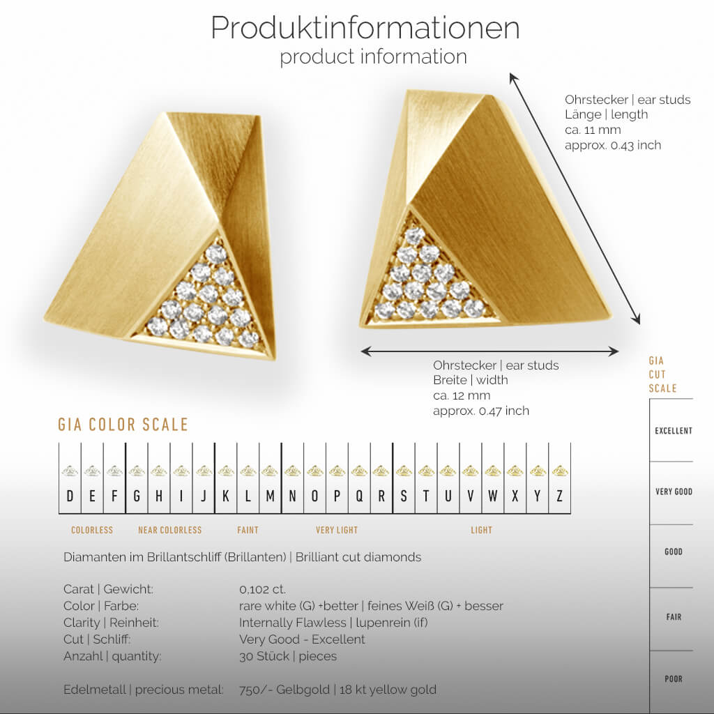 UFO | Produktinformationen - Ohrringe, Ohrstecker - 750/- Gelbgold - Diamanten/Brillanten | product-information - ear studs, earrings - 18 kt yellow gold - diamonds | SYNO-Schmuck.com