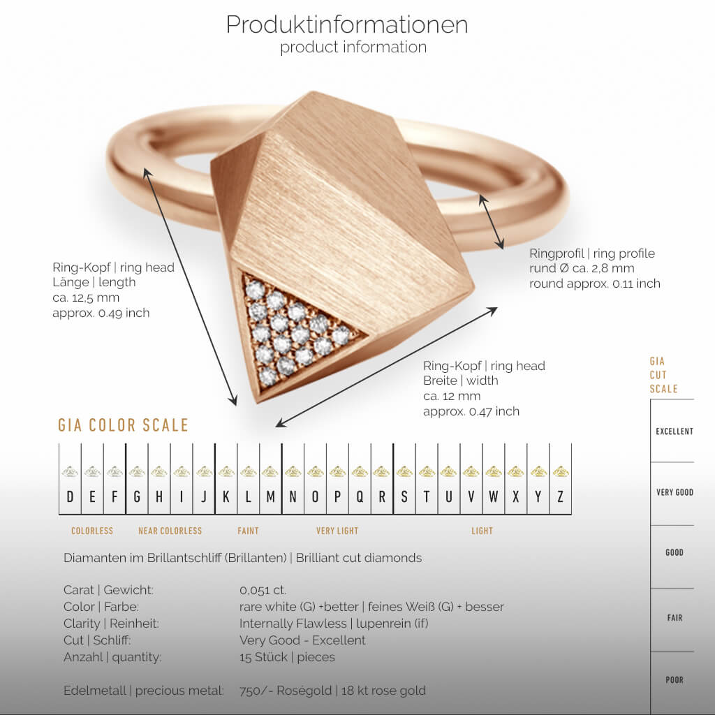 UFO | Produktinformationen - Ring - 750/- Rosegold - Diamanten/Brillanten | product-information - ring - 18 kt rose gold - diamonds | SYNO-Schmuck.com