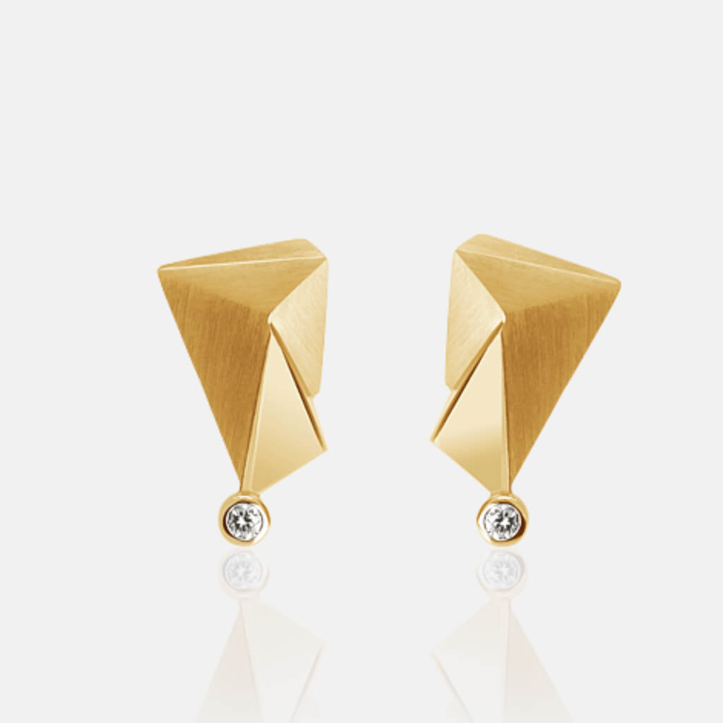 Cyllene | Ohrringe, Ohrstecker - 750 Gelbgold, Diamanten-Brillanten | ear-studs, earrings 18kt yellow-gold, diamonds | SYNO-Schmuck.com