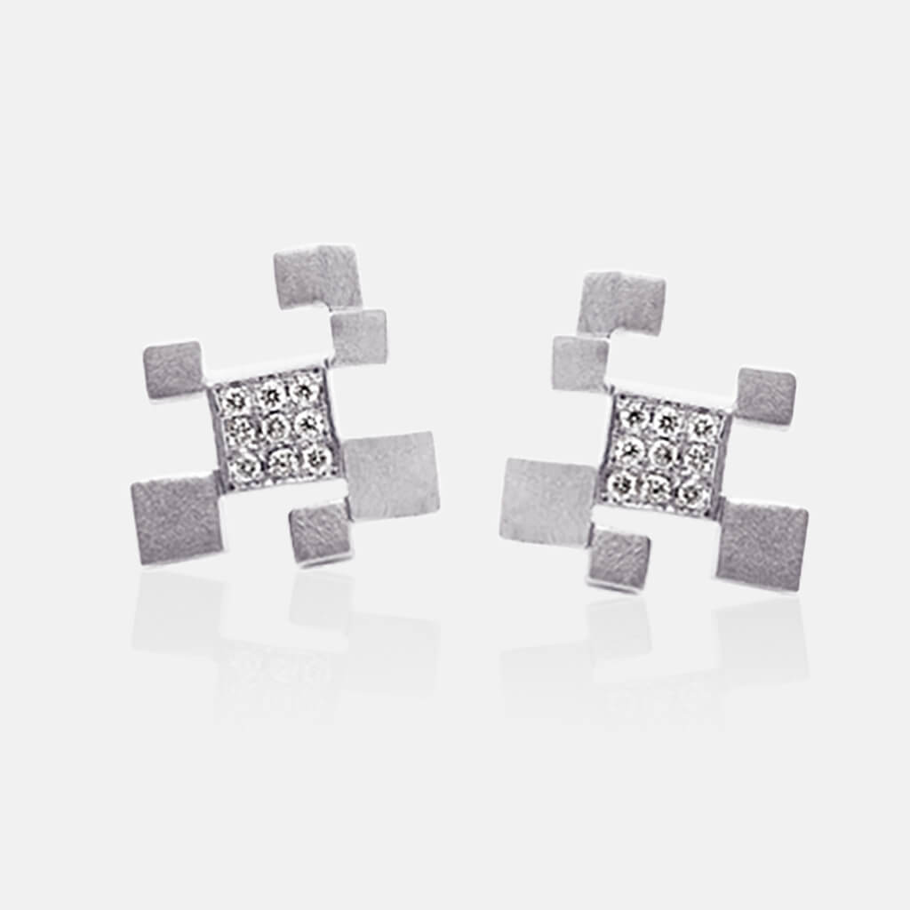 Quadroci | Ohrringe, Ohrstecker - 750 Weissgold, Diamanten-Brillanten | ear-studs, earrings - 18kt white gold, diamonds | SYNO-Schmuck.com
