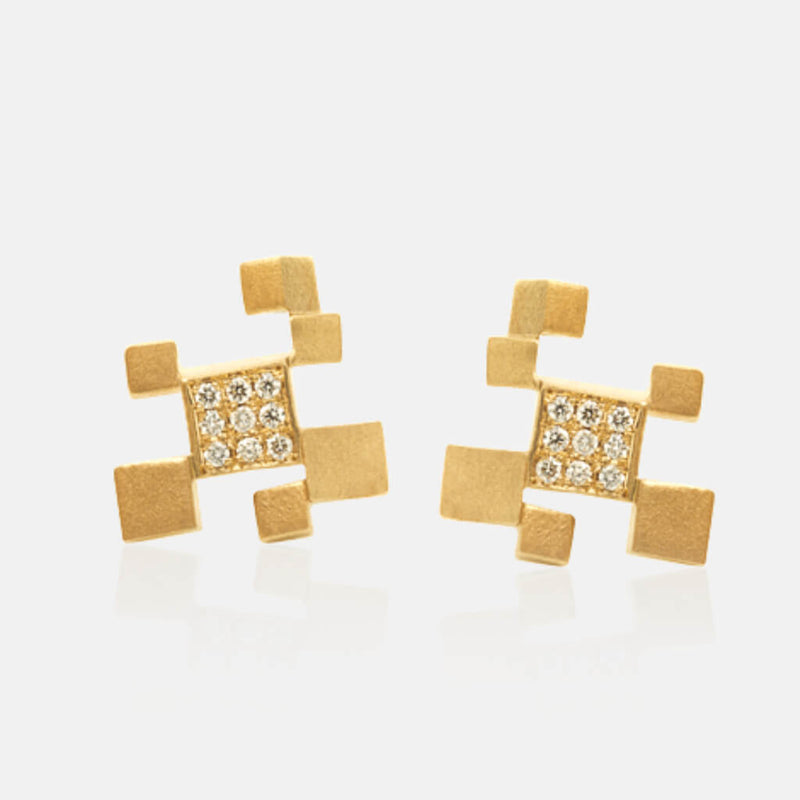 Quadroci | Ohrringe, Ohrstecker - 750 Gelbgold, Diamanten-Brillanten | ear-studs, earrings - 18kt yellow gold, diamonds | SYNO-Schmuck.com
