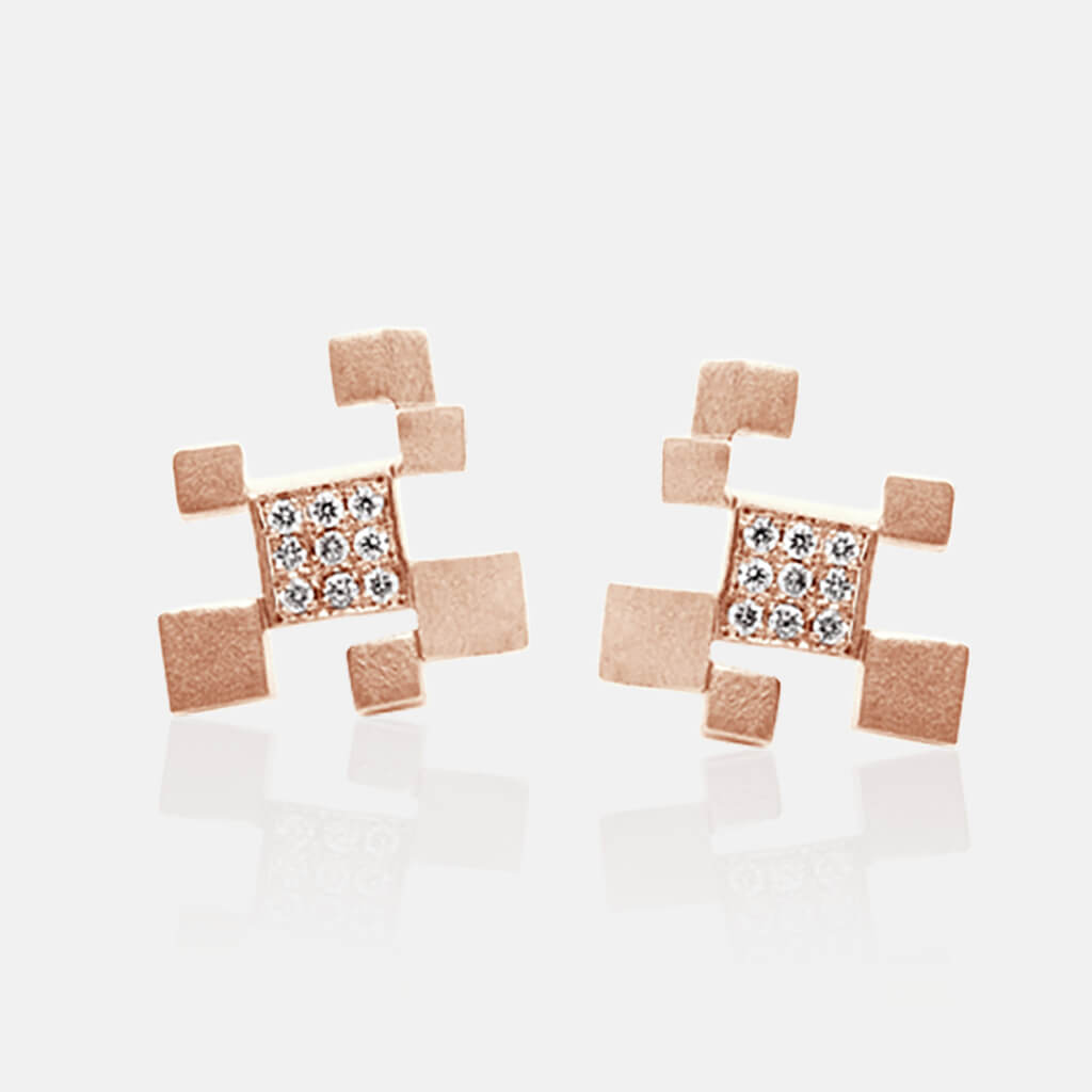 Quadroci | Ohrringe, Ohrstecker - 750 Roségold, Diamanten-Brillanten | ear-studs, earrings - 18kt rose gold, diamonds | SYNO-Schmuck.com