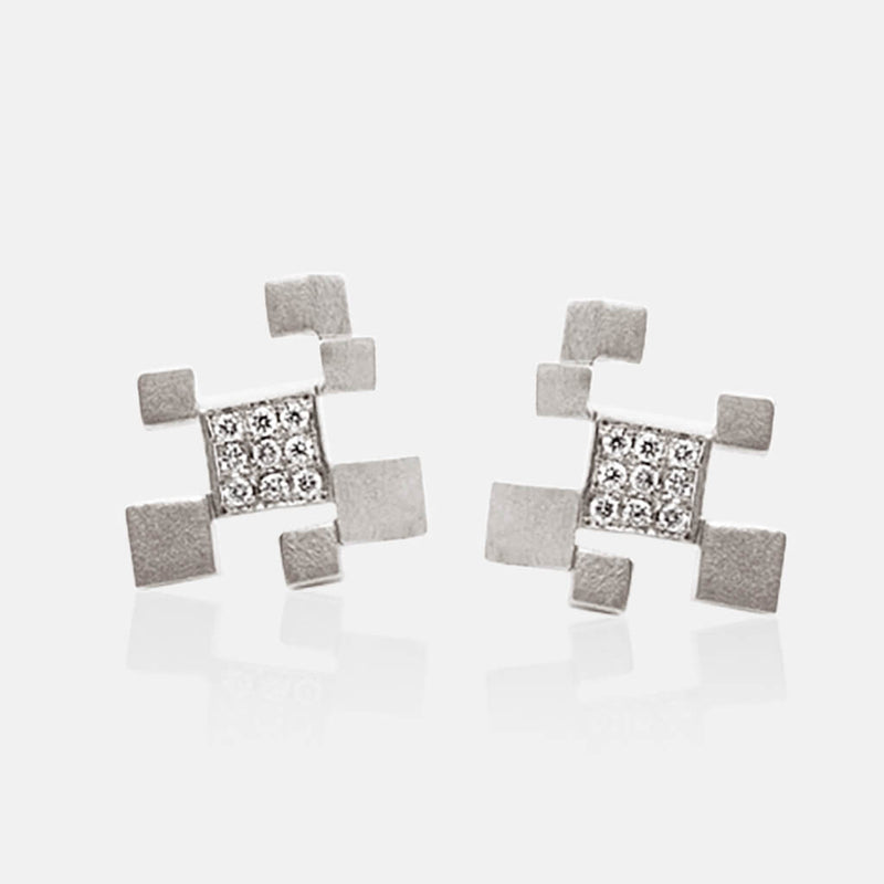 Quadroci | Ohrringe, Ohrstecker - 950 Platin, Diamanten-Brillanten | ear-studs, earrings - platinum, diamonds | SYNO-Schmuck.com