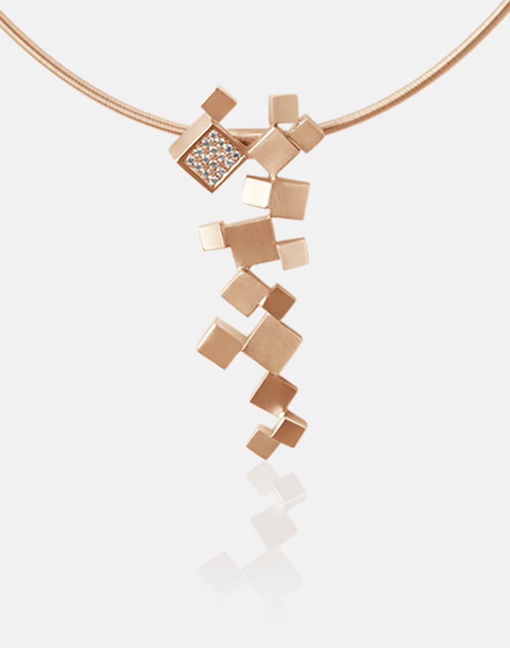 Quadroci | Collier, Kette, Kettenanhänger - 750 Roségold, Diamanten-Brillanten | necklace, pendant - 18kt rose gold, diamonds | SYNO-Schmuck.com