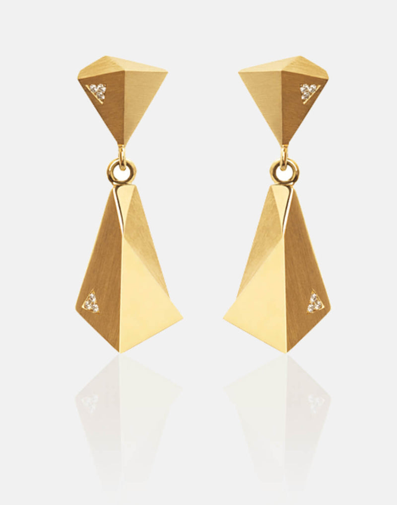 Stealth | Ohrringe, Ohrhänger - 750 Gelbgold, 60 Diamanten-Brillanten | earrings, 18kt yellow gold, 60 diamonds | SYNO-Schmuck.com