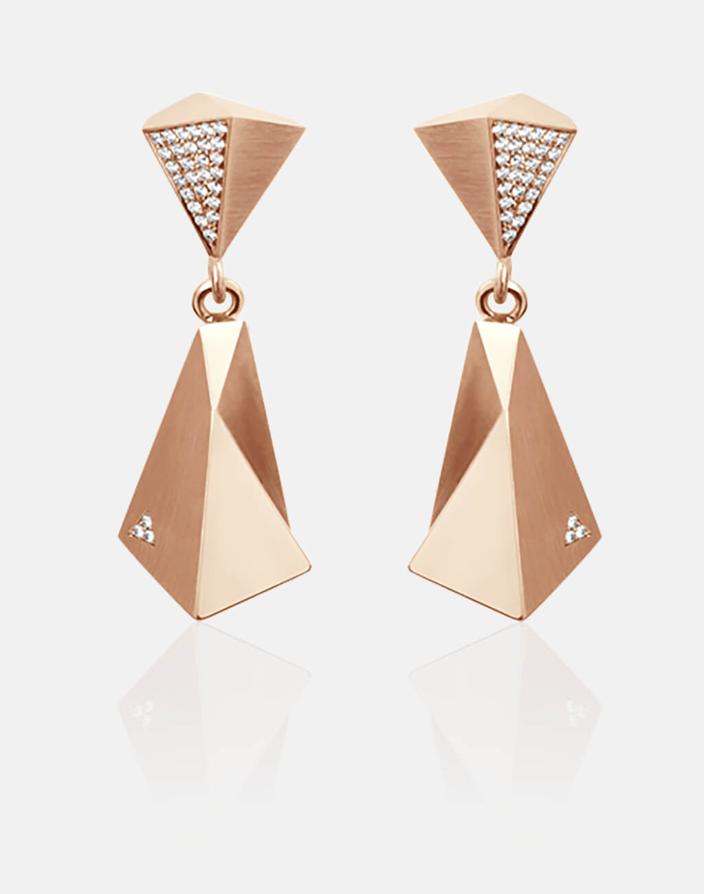 Stealth | Ohrringe, Ohrhänger - 750 Roségold, 60 Diamanten-Brillanten | earrings - 18kt rose gold, 60 diamonds | SYNO-Schmuck.com