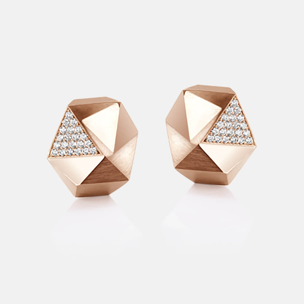Tectone | Ohrringe, Ohrstecker - 750 Roségold, Diamanten-Brillanten | ear-studs, earrings - 18kt rose gold, diamonds | SYNO-Schmuck.com