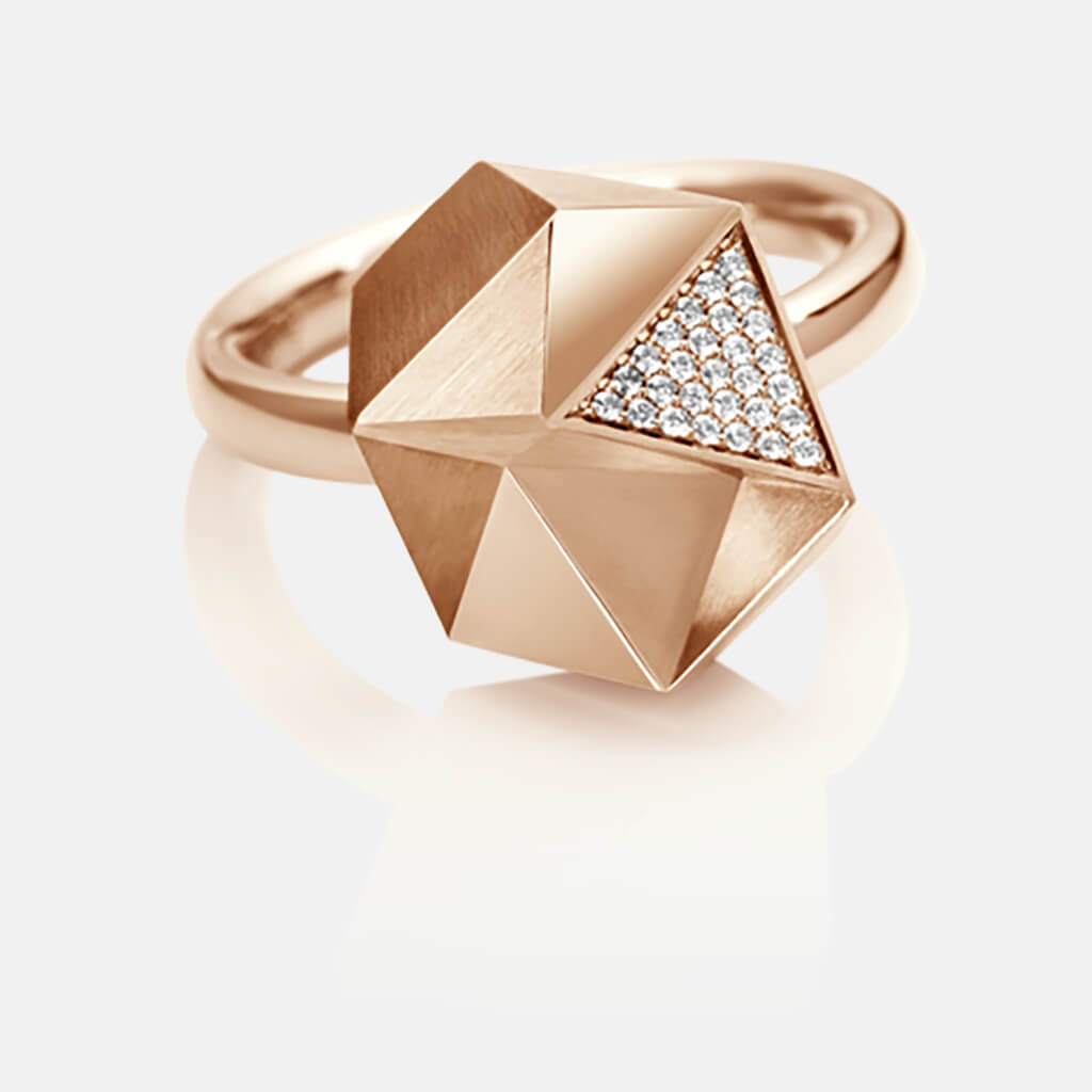 Tectone | Ring - 750 Roségold, Diamanten-Brillanten | ring - 18kt rose gold, diamonds | SYNO-Schmuck.com
