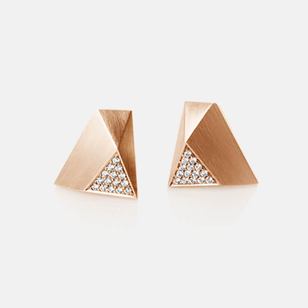 Ufo | Ohrringe, Ohrstecker - 750 Roségold, Diamanten-Brillanten | ear-studs, earrings - 18kt rose gold, diamonds | SYNO-Schmuck.com