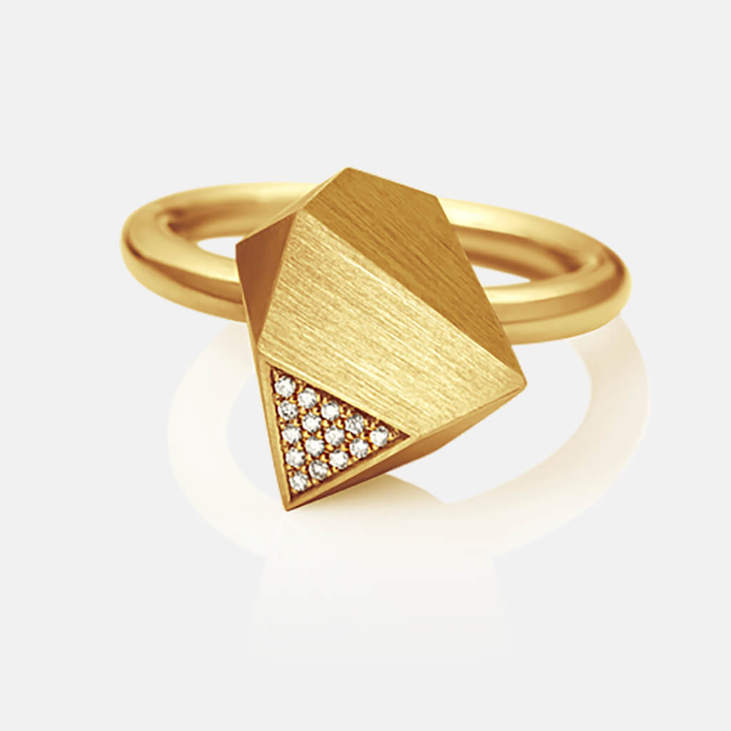 Ufo | Ring - 750 Gelbgold, Diamanten-Brillanten | ring - 18kt yellow gold, diamonds | SYNO-Schmuck.com