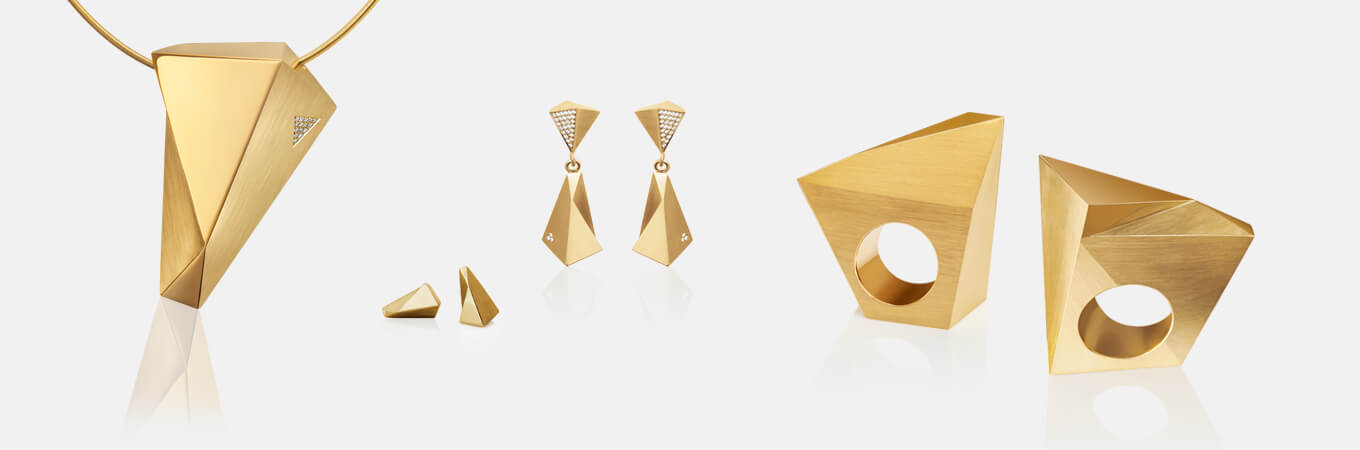 Stealth | Collier, Kettenanhänger, Kette, Ohrringe, Ohrhänger, Ring, 750/- Gelbgold, Brillanten, Diamanten | necklace, pendant, earrings, ear studs, ring 18kt yellow gold | SYNO-Schmuck.com