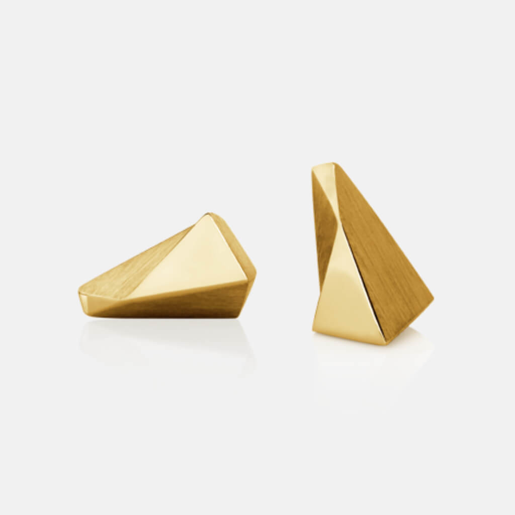 Stealth | Ohrstecker, Ohrringe, 750/- Gelbgold | ear studs, earrings 18kt yellow gold | SYNO-Schmuck.com