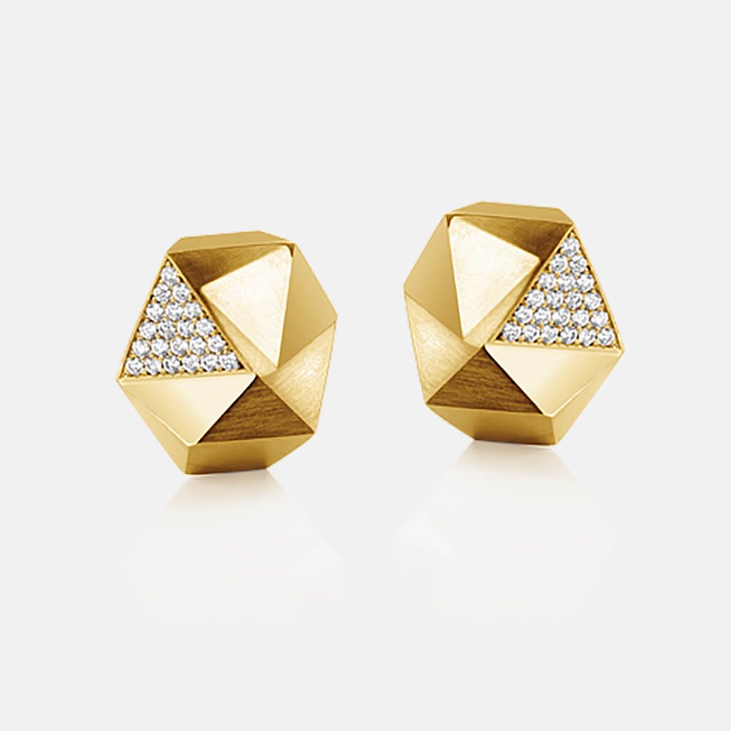 Tectone | Ohrringe, Ohrstecker 750/- Gelbgold, Brillanten, Diamanten | ear studs, earrings 18kt yellow gold, diamonds | SYNO-Schmuck.com