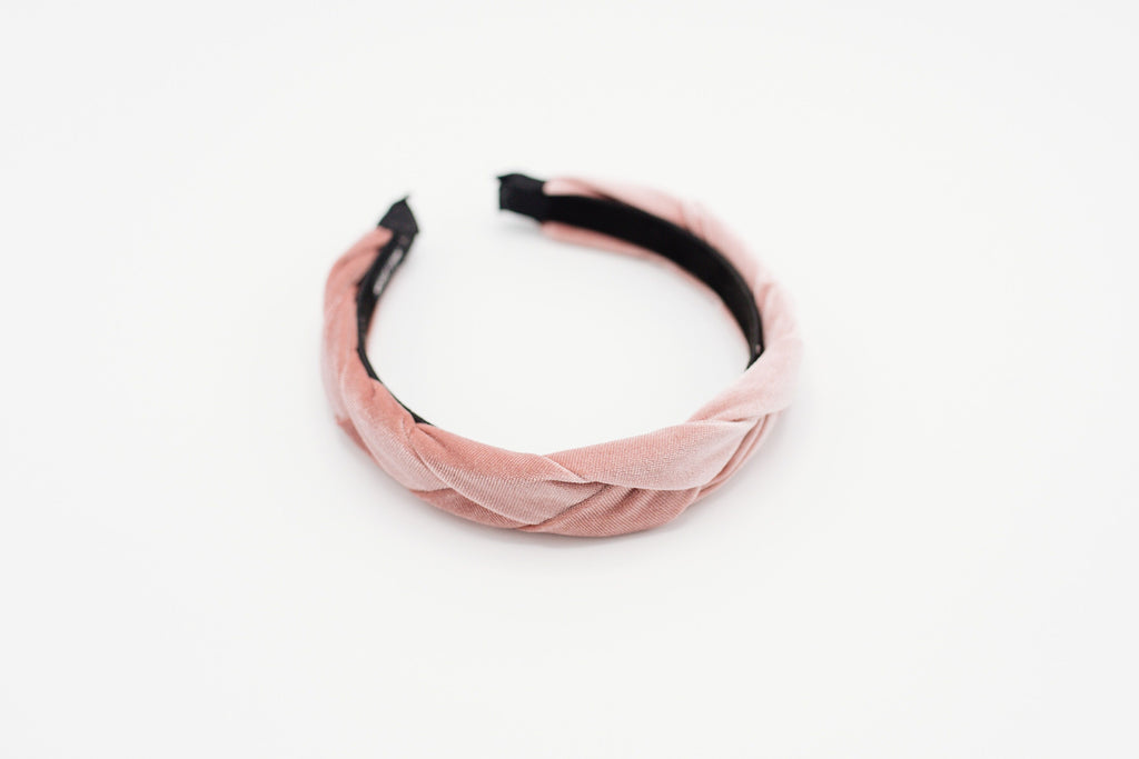 Blush Pink Velvet Braided Headband