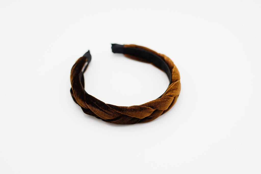 Brown Velvet Braided Headband