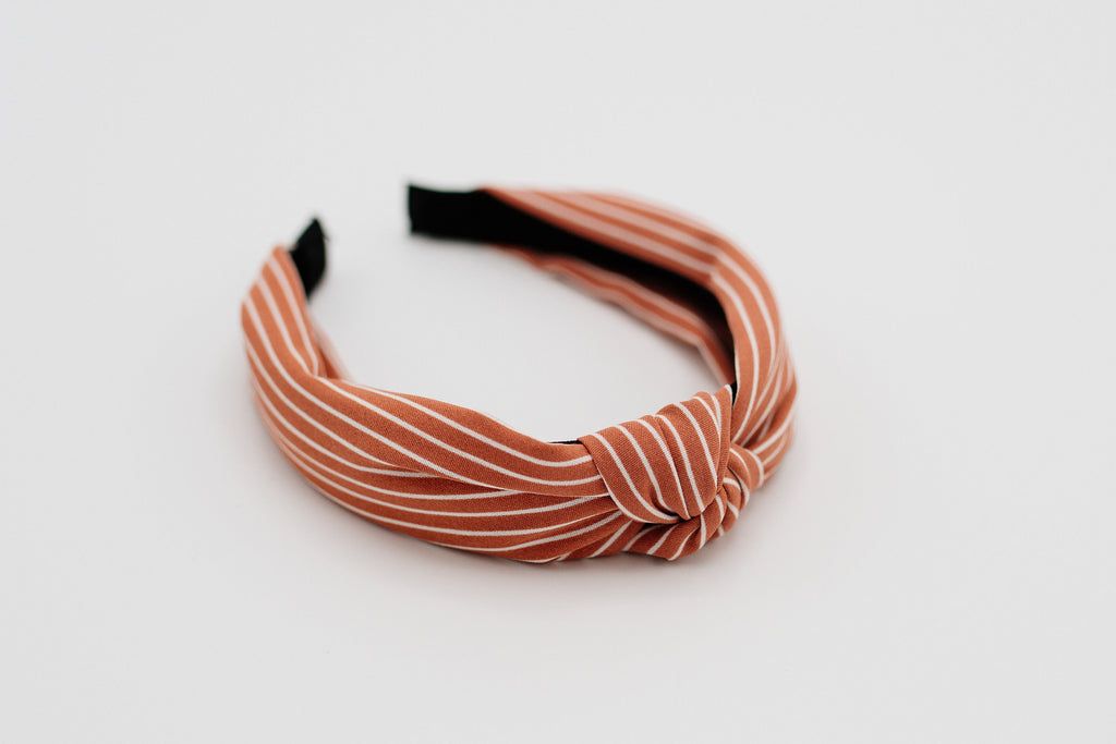 Pink & White Stripe Knotted Headband